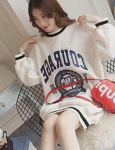 Damen Pullover Lässig/Alltäglich Einfach Solide Druck Buchstabe Baumwolle Polyester