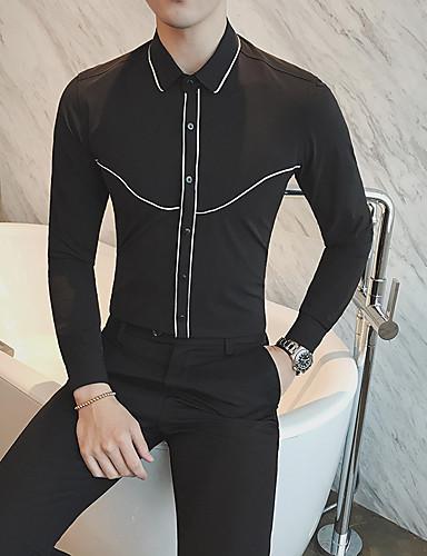 Herren Solide Lässig/Alltäglich Hemd,Quadratischer Ausschnitt Langarm Baumwolle