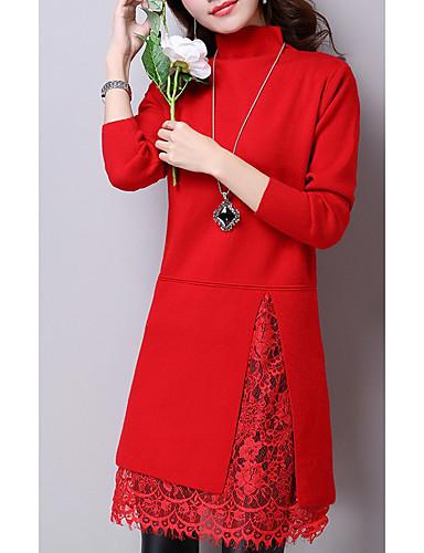 Damen Hülle Kleid-Lässig/Alltäglich Solide Rollkragen Übers Knie Langärmelige Wolle Winter Herbst Mittlere Taillenlinie strenchy