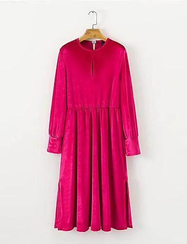 Damen Lose Kleid-Ausgehen Lässig/Alltäglich Solide Buchstabe Rundhalsausschnitt Midi Langarm Baumwolle Andere Mittlere Hüfthöhe