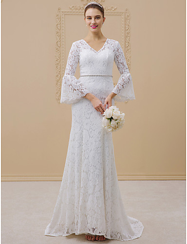 Mermaid / Trumpet V Neck Sweep / Brush Train All Over Lace Made-To-Measure Wedding Dresses with Beading / Sashes / Ribbons by LAN TING BRIDE® / Poet Sleeve / See-Through / Royal Style