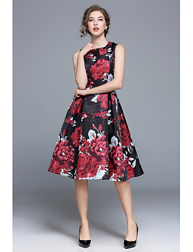 04a36ebb435 Women s Floral Party Going out Vintage Street chic A Line Swing Skater Dress  - Floral High Waist Summer Black L XL XXL