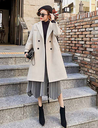 Damen Solide Einfach Freizeit Alltag Ausgehen Mantel,Hemdkragen Winter Langarm Lang Baumwolle Polyester