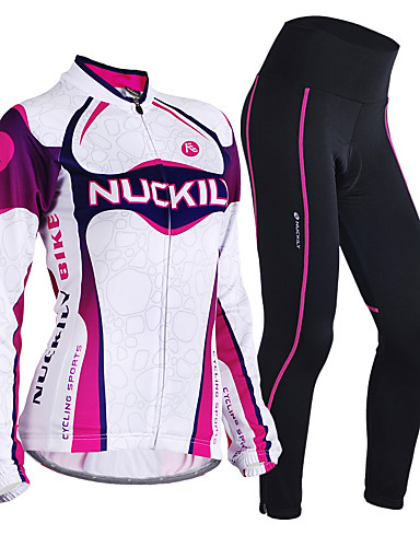 cheap Cycling Clothing-Nuckily Women's Long Sleeve Cycling Jersey with Tights - Purple Gradient Bike Clothing Suit Thermal / Warm Windproof Breathable 3D Pad Anatomic Design Sports Polyester Fleece Lycra Gradient Mountain