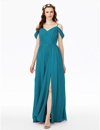 5e4f40b3bf8e Ίσια Γραμμή Λεπτές Τιράντες Μακρύ Σιφόν Φόρεμα Παρανύμφων με Με Άνοιγμα  Μπροστά με LAN TING BRIDE®