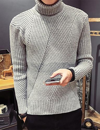 Herren Standard Pullover-Lässig/Alltäglich Solide Rollkragen Langarm Baumwolle Mittel Mikro-elastisch