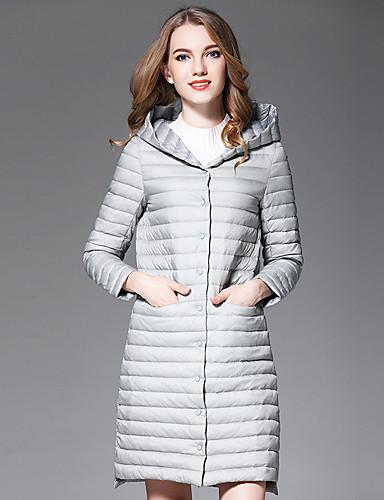 Damen Daunenjacke Mantel,Standard Einfach Anspruchsvoll Street Schick Ausgehen Übergröße Solide-Polyester Langarm