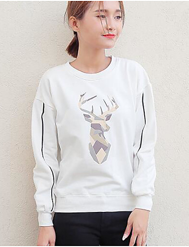 Damen Pullover Alltag Solide Druck Rundhalsausschnitt Baumwolle Langarm Herbst