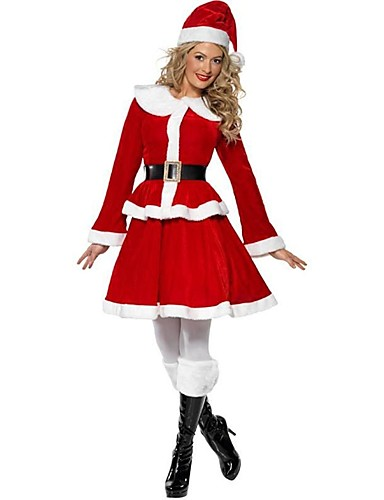 c582cb0cc24d7 Santa Claus Mrs.Claus Costume Women's Christmas Festival / Holiday Polyster  Red Carnival Costumes Solid Colored
