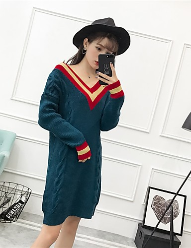 Damen Tunika Kleid-Ausgehen Lässig/Alltäglich Solide V-Ausschnitt Übers Knie Langarm Baumwolle Mittlere Hüfthöhe Unelastisch Mittel