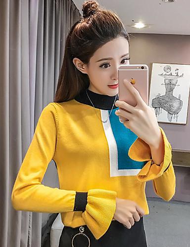 Damen Standard Pullover-Lässig/Alltäglich Solide Einfarbig Rollkragen Langarm Andere Mittel Mikro-elastisch