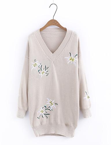 Damen Standard Pullover-Ausgehen Lässig/Alltäglich Solide Druck Rundhalsausschnitt Langarm Andere Mittel Dick Mikro-elastisch