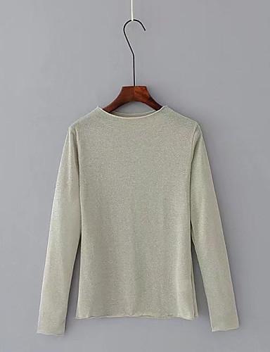 Damen Solide Chinoiserie Ausgehen Lässig/Alltäglich T-shirt,Rundhalsausschnitt Langarm Andere Dünn Mittel