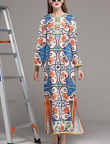 Damen Ausgehen Etuikleid Kleid Druck Maxi Hohe Hüfthöhe