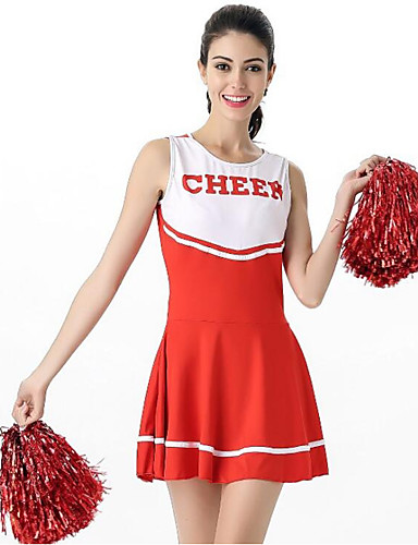 cheap Career & Profession Costumes-Cheerleader Costume Cosplay Costume Women's Carnival Festival / Holiday Outfits Black / Pink / Red Color Block