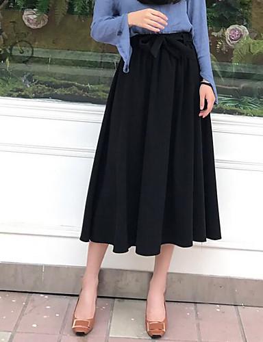 Damen Lässig/Alltäglich Midi Röcke einfarbig Herbst