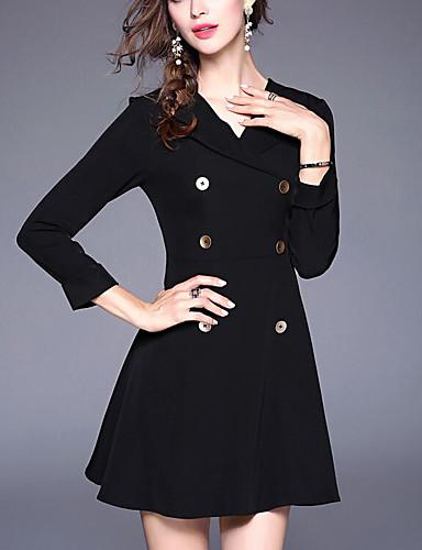 Damen Bodycon Kleid-Ausgehen Solide V-Ausschnitt Übers Knie 3/4 Ärmel Polyester Herbst Mittlere Taillenlinie Mikro-elastisch Dick