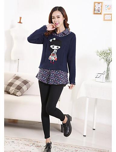 Damen Pullover Lässig/Alltäglich Solide Druck Baumwolle