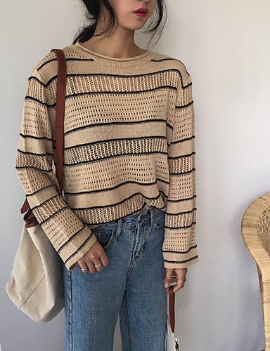 Damen Standard Pullover-Lässig/Alltäglich Einfach Gestreift Rundhalsausschnitt Langarm Baumwolle Herbst Mittel Mikro-elastisch