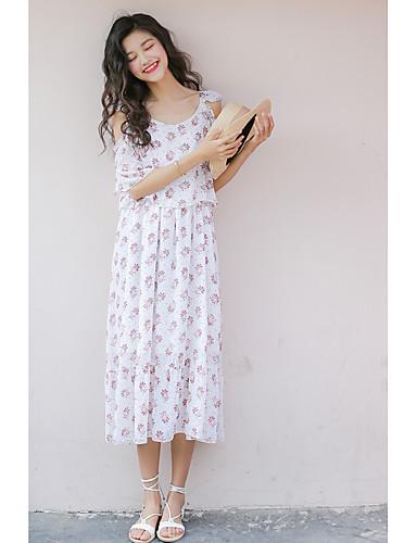 Damen Swing Kleid-Ausgehen Lässig/Alltäglich Blumen Gurt Midi Halbe Ärmel Polyester Mittlere Hüfthöhe Unelastisch Transparent