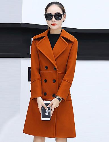 Damen Solide Street Schick Ausgehen Standard Mantel, Gekerbtes Revers Winter Herbst Polyester