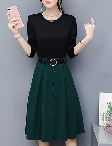 Damen Übergrössen Ausgehen A-Linie Kleid Solide Midi