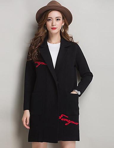 Damen Buchstabe Einfach Lässig/Alltäglich Mantel Herbst Lang Baumwolle