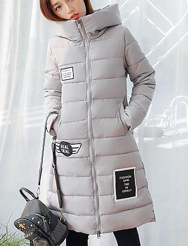 Damen Gefüttert Mantel Niedlich Street Schick Ausgehen Lässig/Alltäglich Solide-Polyester Langarm