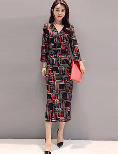 Damen A-Linie Hülle Kleid-Ausgehen Arbeit Retro Boho Street Schick Geometrisch V-Ausschnitt Midi Langarm Andere Mittlere Hüfthöhe