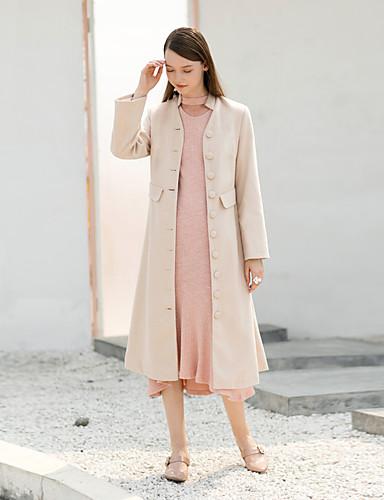 Damen Solide Einfach Retro Arbeit Lässig/Alltäglich Mantel,Ständer Winter Langarm Maxi Polyester