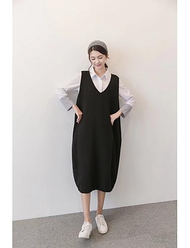 Damen Lose Strickware Kleid-Lässig/Alltäglich Ausgehen Solide V-Ausschnitt Midi Ärmellos Baumwolle Andere Mittlere Hüfthöhe