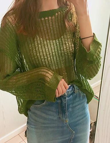 Damen Standard Pullover-Lässig/Alltäglich Solide Rundhalsausschnitt Langarm Baumwolle Acryl Dünn Mikro-elastisch