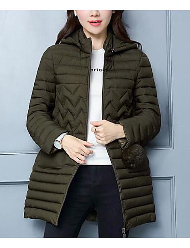 Damen Gefüttert Mantel,Lang Einfach Lässig/Alltäglich Solide-Baumwolle Langarm