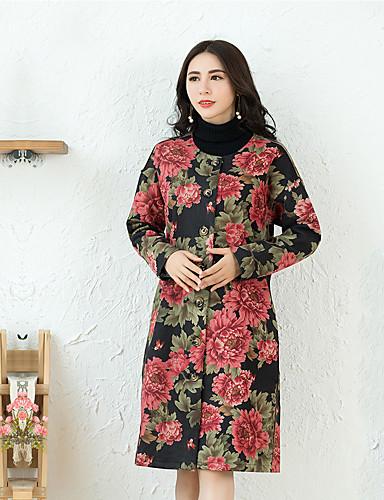 Damen - Blumenmuster Chinoiserie / Anspruchsvoll Mantel PU / Herbst / Winter
