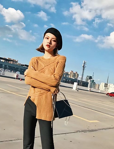 Damen Standard Pullover-Lässig/Alltäglich Ausgehen Solide Rundhalsausschnitt Langarm Kaninchen-Pelz Andere Mittel Dünn Mikro-elastisch
