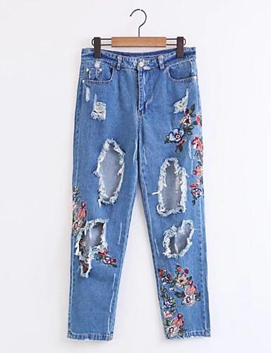 Damen Mikro-elastisch Jeans Hose Blumen Stickerei