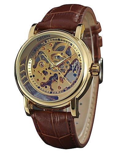 Męskie Nakręcanie automatyczne Zegarek na nadgarstek Hollow Grawerowanie Skóra Pasmo Vintage Na co dzień Do sukni / garnituru Modny