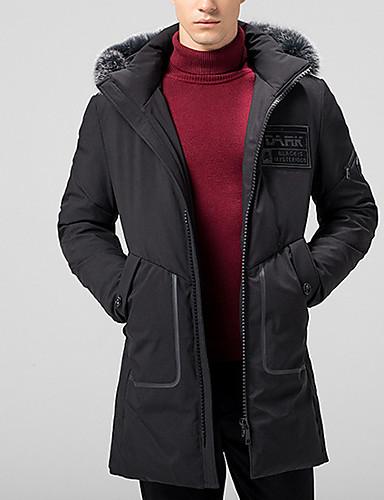 Herren Gefüttert Mantel Einfach Lässig/Alltäglich Solide-Polyester Langarm
