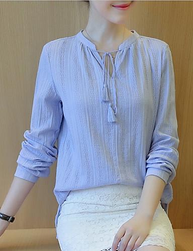 Damen Solide Street Schick Alltag Hemd,V-Ausschnitt Herbst Langarm Baumwolle Dünn