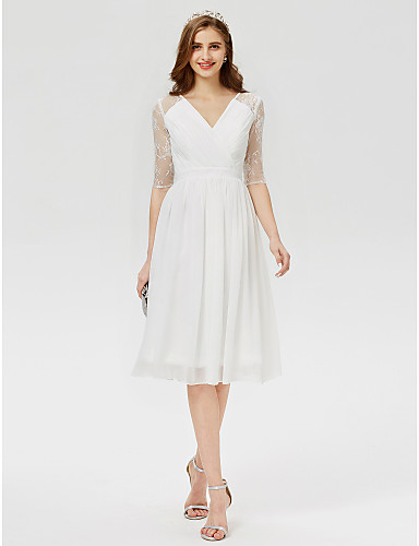 2467dde9f9a90d A-Line / Princess V Neck Knee Length Chiffon / Lace Cocktail Party Dress  with Lace / Sash / Ribbon / Pleats by TS Couture® / Illusion Sleeve  #06359452