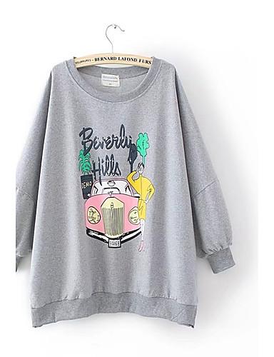 Damen Pullover Lässig/Alltäglich Einfach Druck Mikro-elastisch Baumwolle