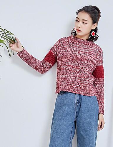 Damen Standard Strickjacke-Lässig/Alltäglich Einfarbig Rundhalsausschnitt Langarm Andere Herbst Winter Mittel Mikro-elastisch