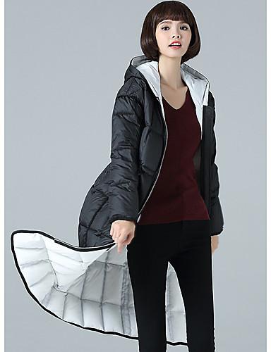 Damen Gefüttert Mantel Einfach Ausgehen Lässig/Alltäglich Solide-Baumwolle Polyester Langarm