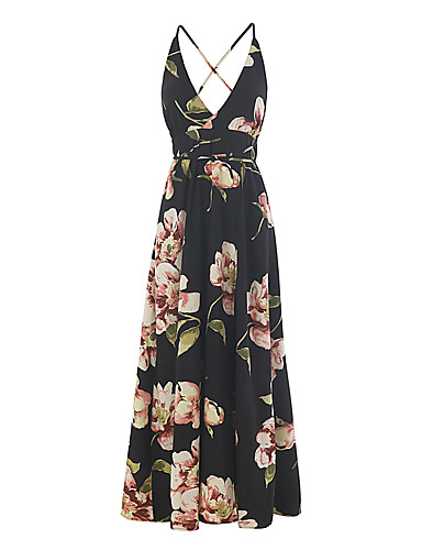 Women's Daily Going out Casual Sexy Boho Sheath Dress,Floral Color Block Strap Maxi Sleeveless Polyester Spring Summer Mid Rise