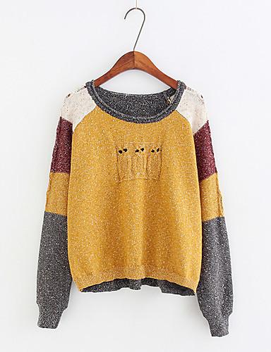 Damen Standard Pullover-Ausgehen Lässig/Alltäglich Solide Punkt Rundhalsausschnitt Langarm Baumwolle Andere Dünn Mittel Mikro-elastisch