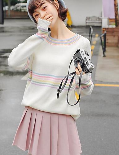 Damen Standard Pullover-Ausgehen Gestreift Rundhalsausschnitt Langarm Baumwolle Mittel Mikro-elastisch