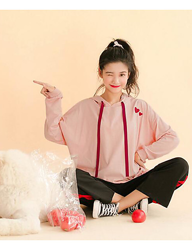 Damen Kapuzenshirt Ausgehen Druck Mikro-elastisch Baumwolle Herbst
