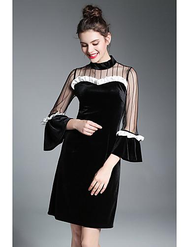 Damen Das kleine Schwarze Kleid-Party Ausgehen Einfach Solide Rundhalsausschnitt Übers Knie Kurze Ärmel Kunstseide Frühling Herbst
