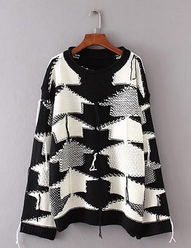 Damen Standard Pullover-Ausgehen Lässig/Alltäglich Solide Einfarbig Rundhalsausschnitt Langarm Baumwolle Andere Dünn Mittel