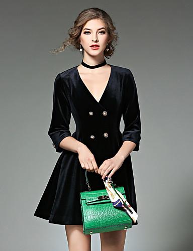 Damen A-Linie Kleid-Party Solide V-Ausschnitt Übers Knie Langarm Polyester Herbst Winter Hohe Hüfthöhe Mikro-elastisch Mittel